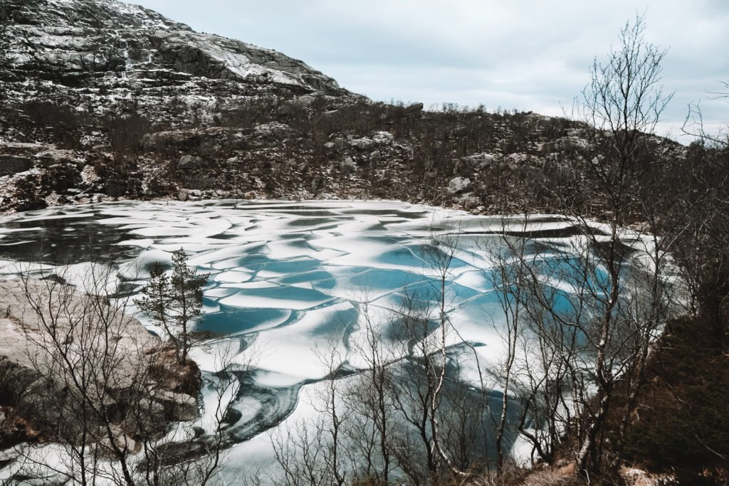 Icy Lakes on the Mountains when hiking to Preikestolen in Norway