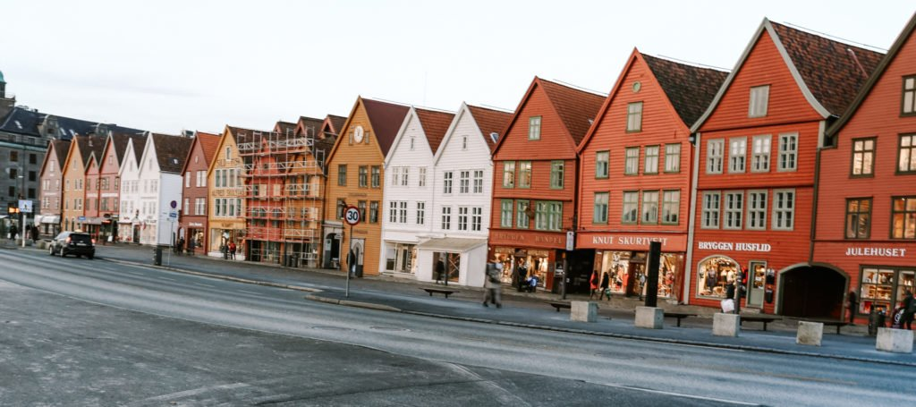 bryggen colourful houses in Bergen Norway