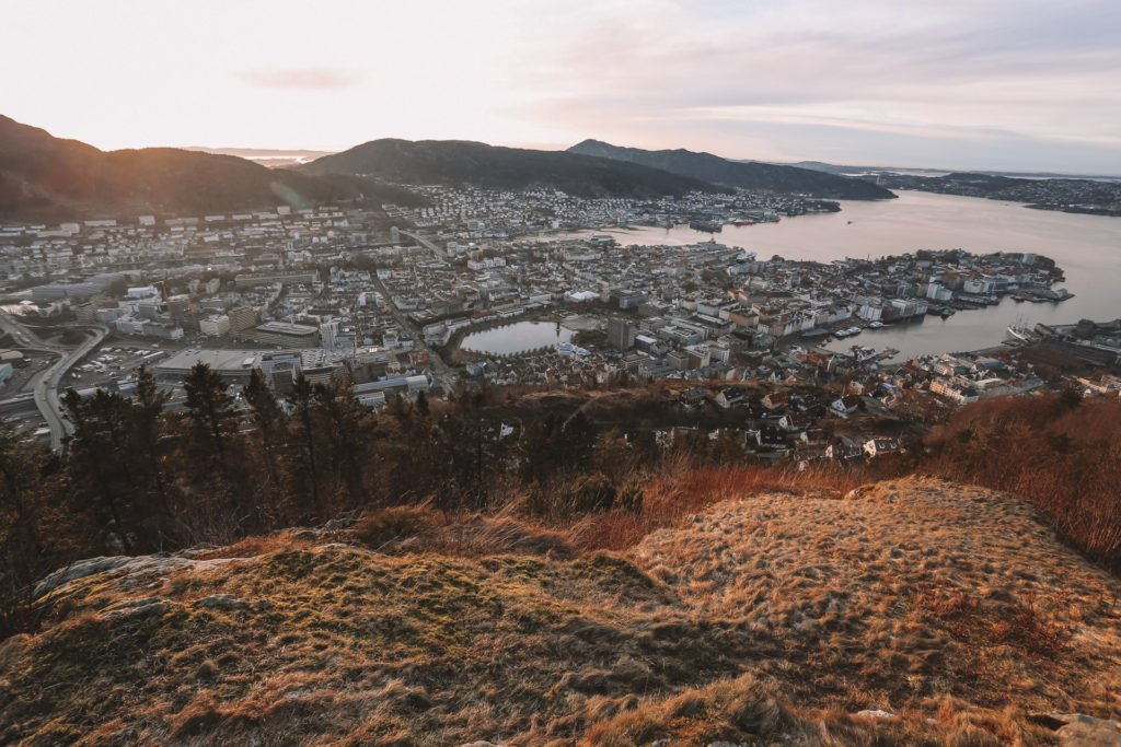 view from mt floyen of bergen viewpoint hike