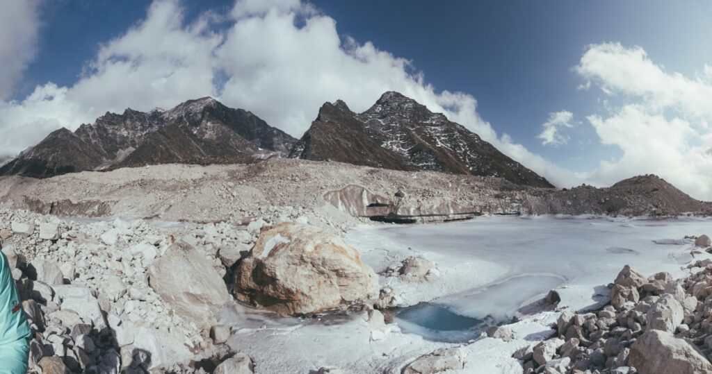 khumbu glacier from the three high passes